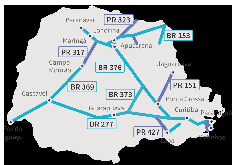 Anel de integração: Mapa das rodovias pedagiadas no Paraná, separadas em trechos estaduais e federais (BRs e PRs)