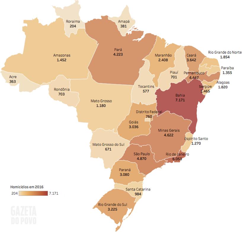 Mapa dos Homicídios  no Brasil em 2016 – Atlas da violência 2018 –Gazeta do Povo
