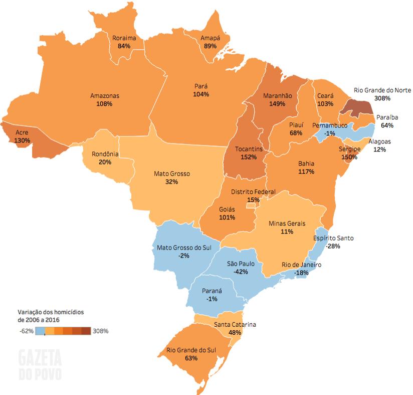 Mapa da evolução dos homicídios no Brasil de 2006 a 2016 – Atlas da violência 2018 –Gazeta do Povo