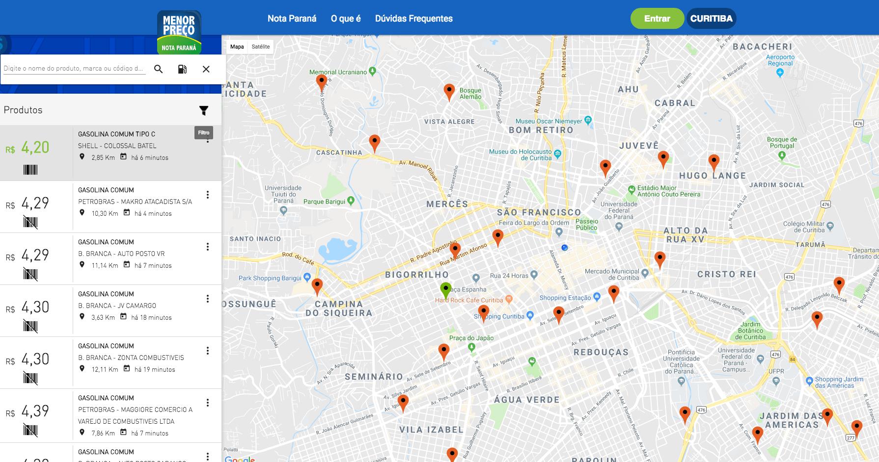"""Veja onde tem um posto com gasolina perto de você em Curitiba: app e site """"Menor Preço"""" do Nota Paraná têm mapa com últimas compras em postos de combustível com atualização minuto a minuto."""