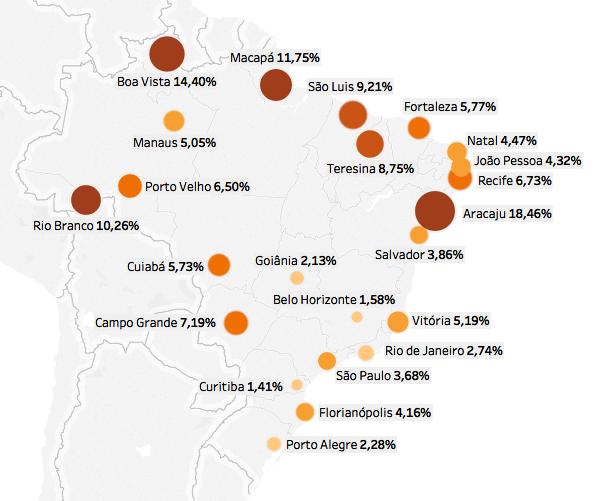 Infográfico: Mapa dos comissionados. Paraná é o estado com a menor taxa de comissionados em relação ao total de servidores.