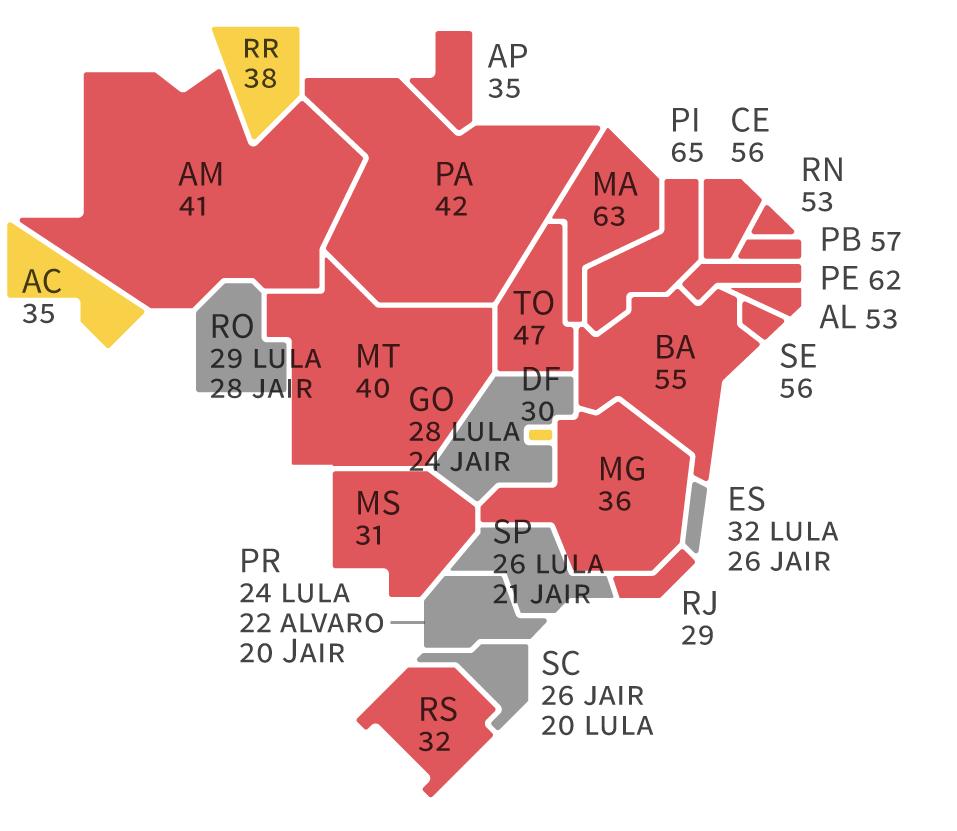 Infográfico: Mapa do Ibope para presidente no Brasil –Bolsonaro (em amarelo) x Lula (em vermelho): quem ganha a disputa nos estados, segundo as pesquisas eleitorais para presidente realizadas pelo Ibope nos estados em agosto/2018 – Eleições 2018 – Gazeta do Povo