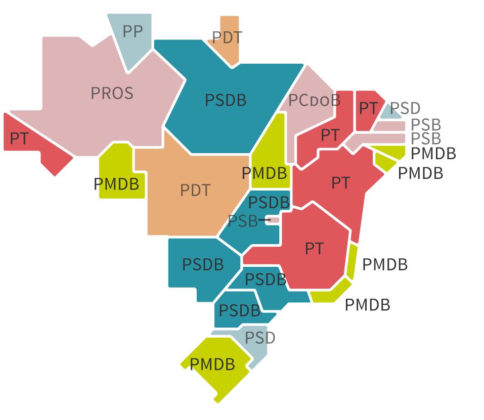 Infográfico: Mapa dos governadores eleitos em 2014 – Eleições 2018 – Gazeta do Povo