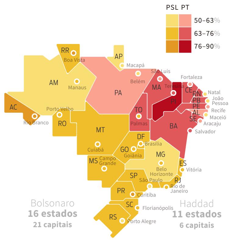 Mapa eleitoral: Resultado para presidente | Eleições 2018 | Quem ganhou por estado: Jair Bolsonaro (16) Fernando Haddad (11) | Quem ganhou nas capitais: Jair Bolsonaro (21) Fernando Haddad (6)