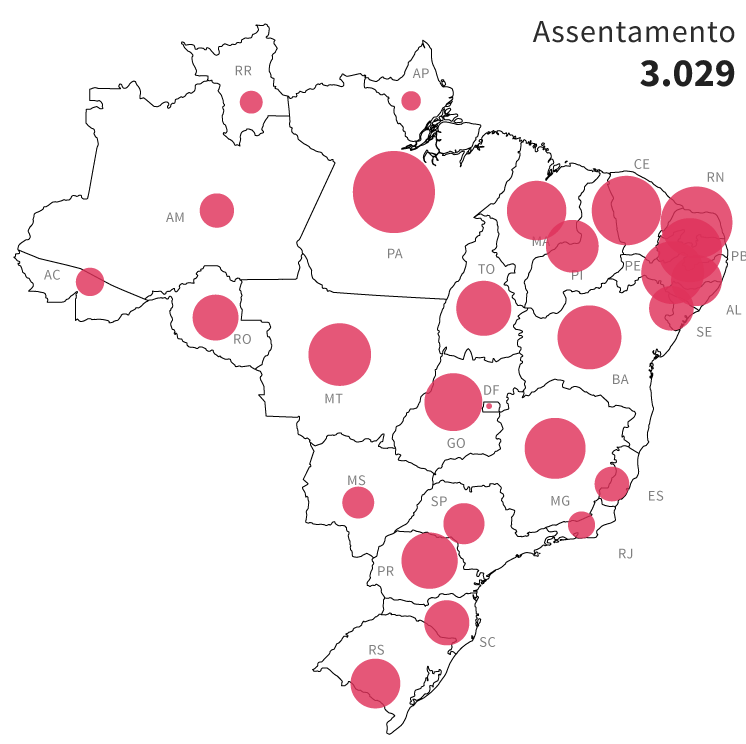 Infográfico: mapa das áreas de risco de conflito socioambientais no Brasil: 3.029 assentamentos próximos à atividades de mineração