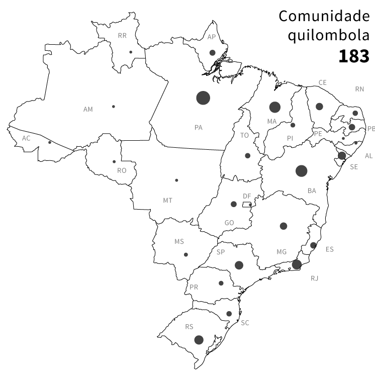 Infográfico: mapa das áreas de risco de conflito socioambientais no Brasil: 183 comunidades quilombolas próximas à atividades de mineração