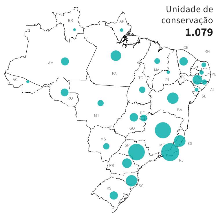 Infográfico: mapa das áreas de risco de conflito socioambientais no Brasil: 1.079 unidades de conservação próximas à atividades de mineração