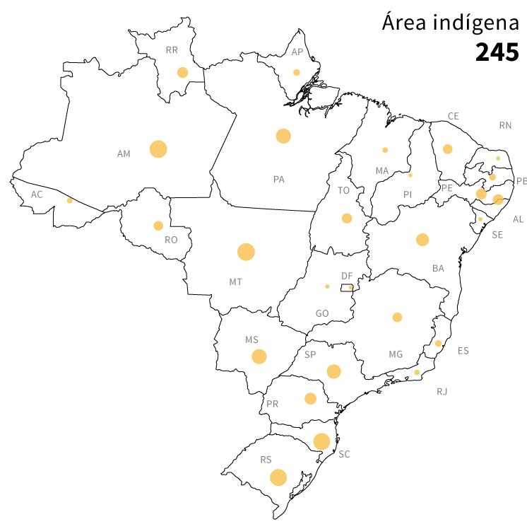 Infográfico: mapa das áreas de risco de conflito socioambientais no Brasil: 245 áreas indígenas próximas à atividades de mineração
