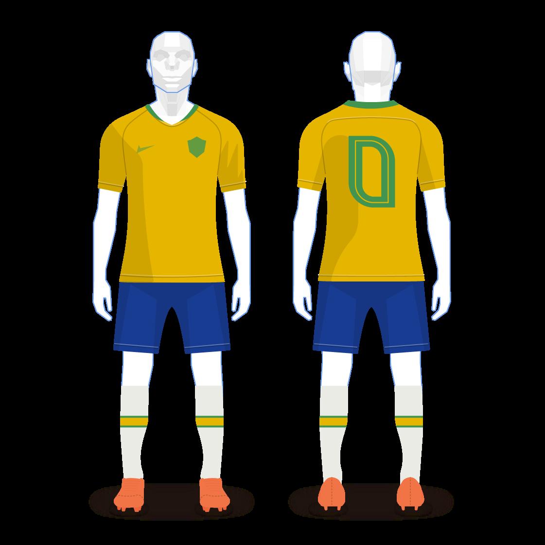 Uniforme principal da seleção brasileira, com camisa amarela