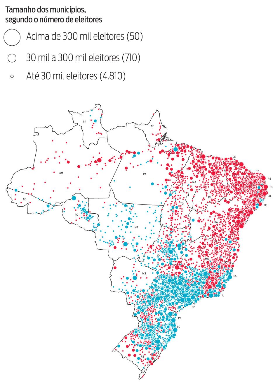 Infográfico: mapa do resultado das eleições presidenciais no 2º turno em 2014