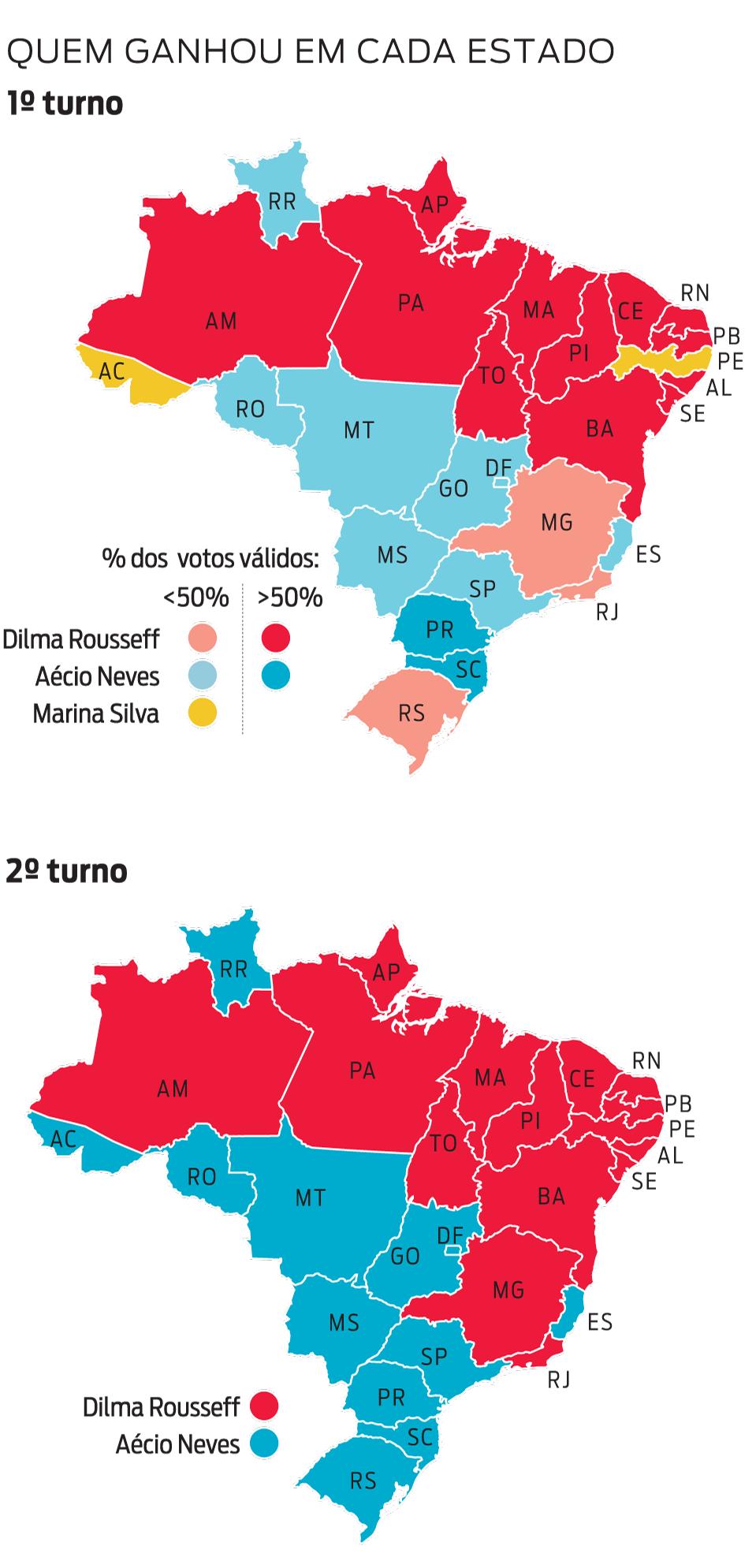 Infográfico: mapas por estado do resultado das eleições presidenciais no 2º turno em 2014