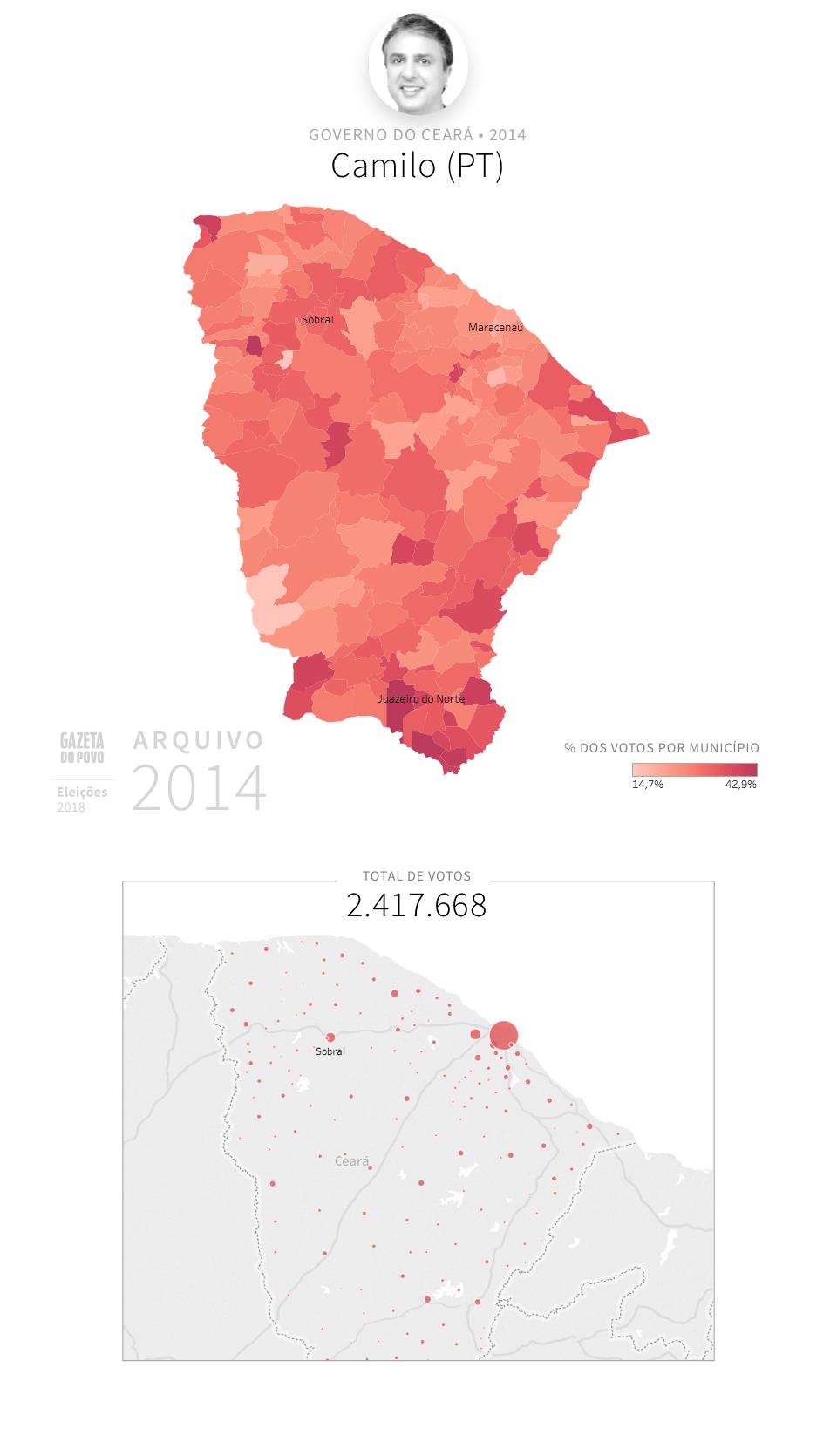 Desempenho do PT no Ceará em 2014, na eleição para governador do Ceará. Em % do total de votos em cada município.