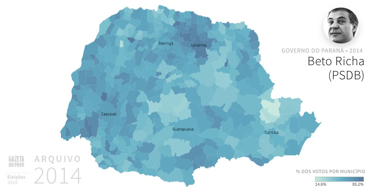Desempenho do PSDB no Paraná em 2014, na eleição para governador do Paraná. Em % do total de votos em cada município. Em 2018, o ex-governador Beto Richa é candidato ao Senado Federal.