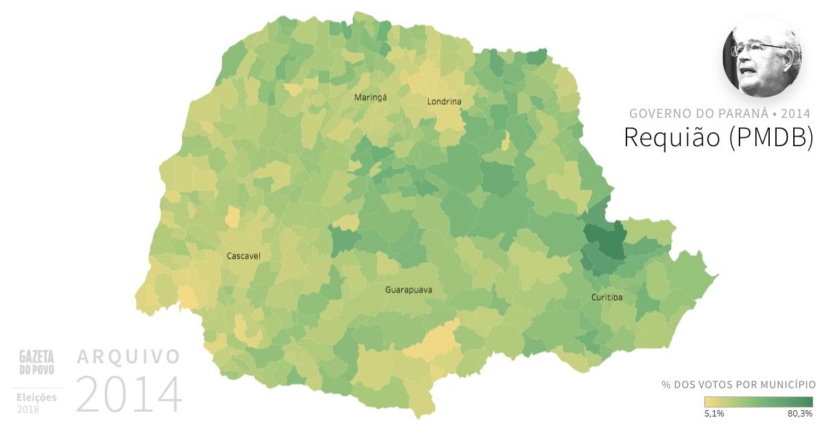 Desempenho do PMDB no Paraná em 2014, na eleição para governador do Paraná. Em % do total de votos em cada município. Em 2018, o senador Requião é candidato à reeleição no Senado Federal.