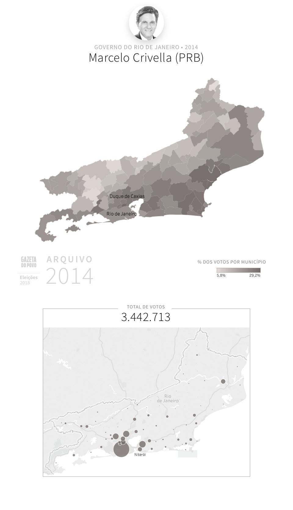 Desempenho do PRB no Rio de Janeiro em 2014, na eleição para governador do Rio de Janeiro. Em % do total de votos em cada município.
