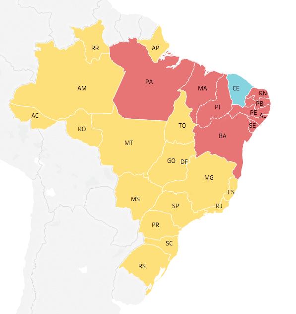 Mapa eleitoral: Resultado para presidente | Eleições 2018 | Quem ganhou por estado: Jair Bolsonaro (17) Fernando Haddad (9) Ciro Gomes (1)