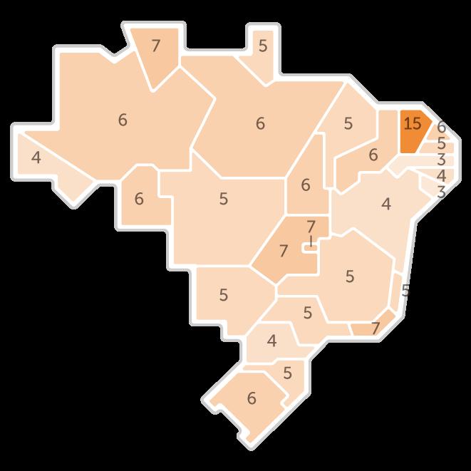 Mapa da pesquisa Ibope em cada estado das intenções de voto do candidato Ciro Gomes