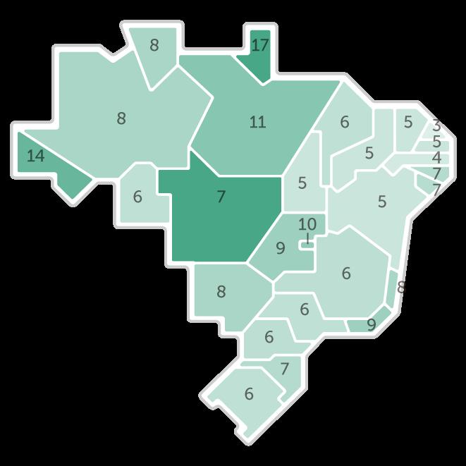 Mapa da pesquisa Ibope em cada estado das intenções de voto do candidato Marina Silva