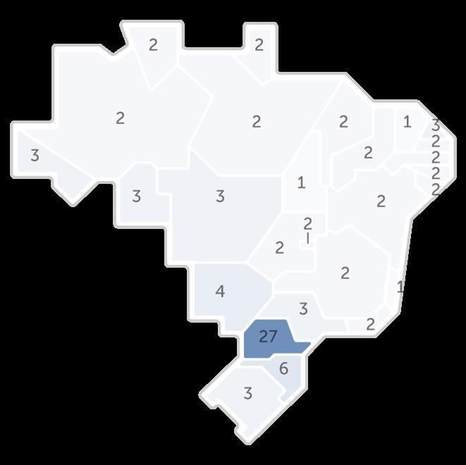 Mapa da pesquisa Ibope em cada estado das intenções de voto do candidato Alvaro Dias