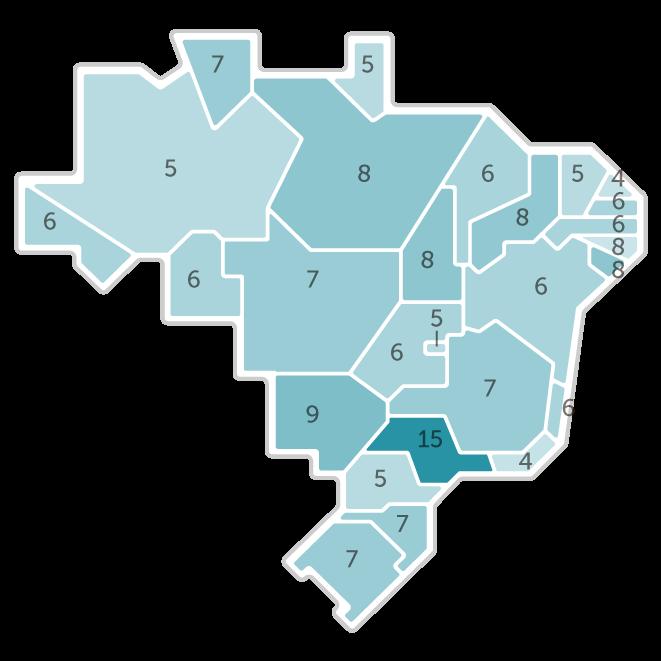 Mapa da pesquisa Ibope em cada estado das intenções de voto do candidato Geraldo Alckmin