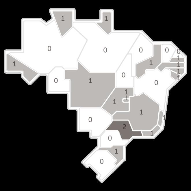 Mapa da pesquisa Ibope em cada estado das intenções de voto do candidato Guilherme Boulos