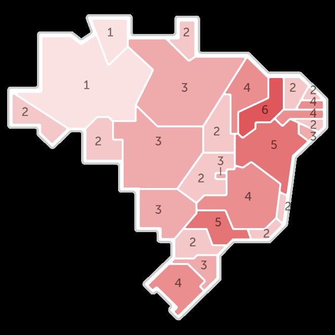 Mapa da pesquisa Ibope em cada estado das intenções de voto do candidato Fernando Haddad