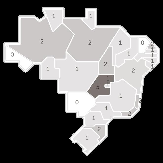 Mapa da pesquisa Ibope em cada estado das intenções de voto do candidato Henrique Meirelles