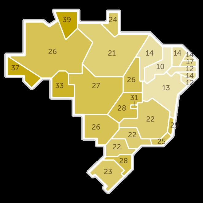 Mapa da pesquisa Ibope em cada estado das intenções de voto do candidato Jair Bolsonaro