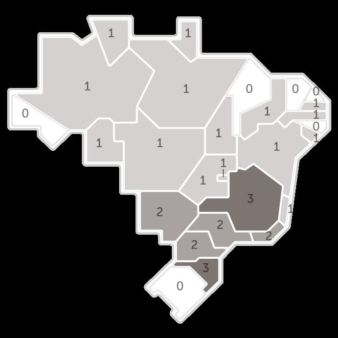 Mapa da pesquisa Ibope em cada estado das intenções de voto do candidato João Amoêdo