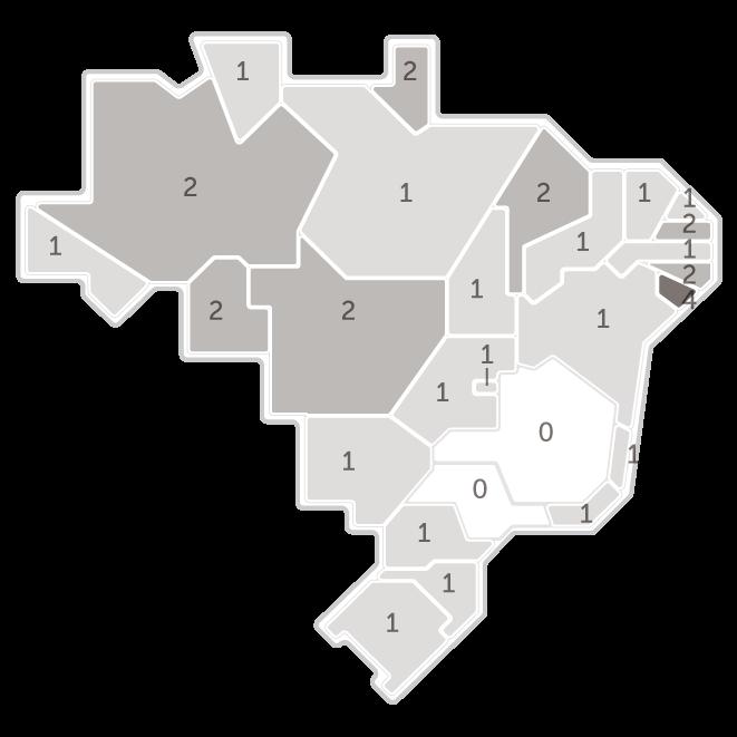 Mapa da pesquisa Ibope em cada estado das intenções de voto do candidato Vera