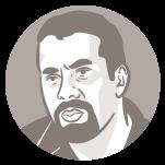 Ilustração do rosto do candidato à presidência Guilherme Boulos