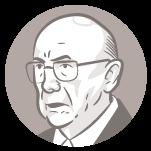 Ilustração do rosto do candidato à presidência Henrique Meirelles