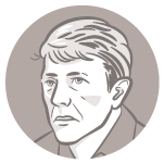 Ilustração do rosto do candidato à presidência João Amoêdo