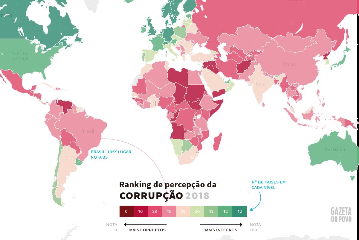 Mapa da corrupção mundial 2018, segundo a percepção de especialistas e executivos em cada país