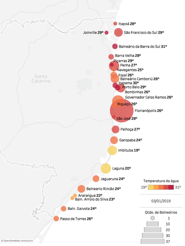 Mapa das praias mais quentes em Santa Catarina: média da temperatura da água do mar por cidade. Em janeiro de 2019