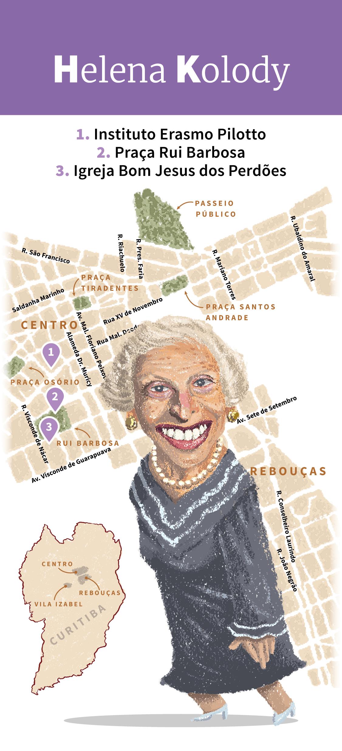 Infográfico: Locais de inspiração de Helena Kolody em Curitiba