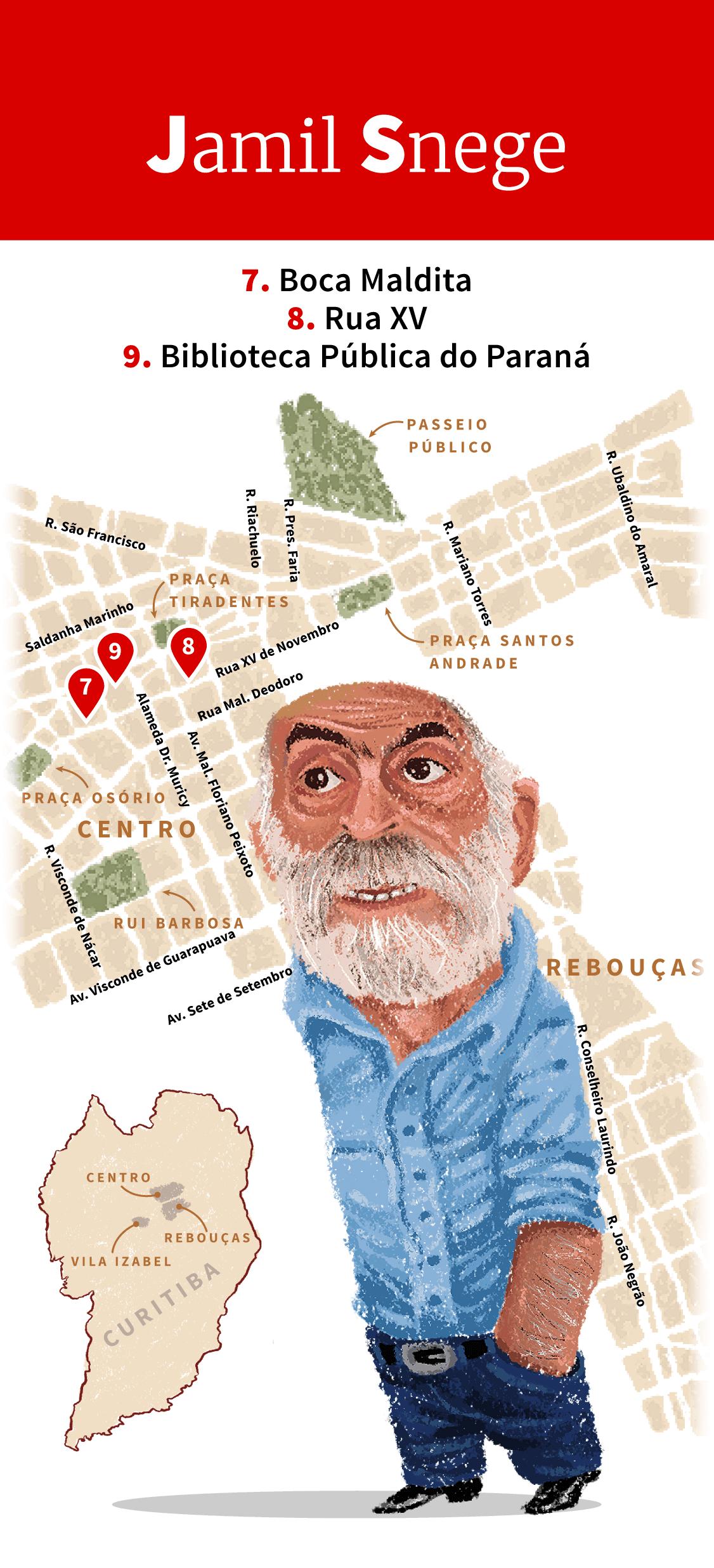 Infográfico: Locais de inspiração de Jamil Snege em Curitiba