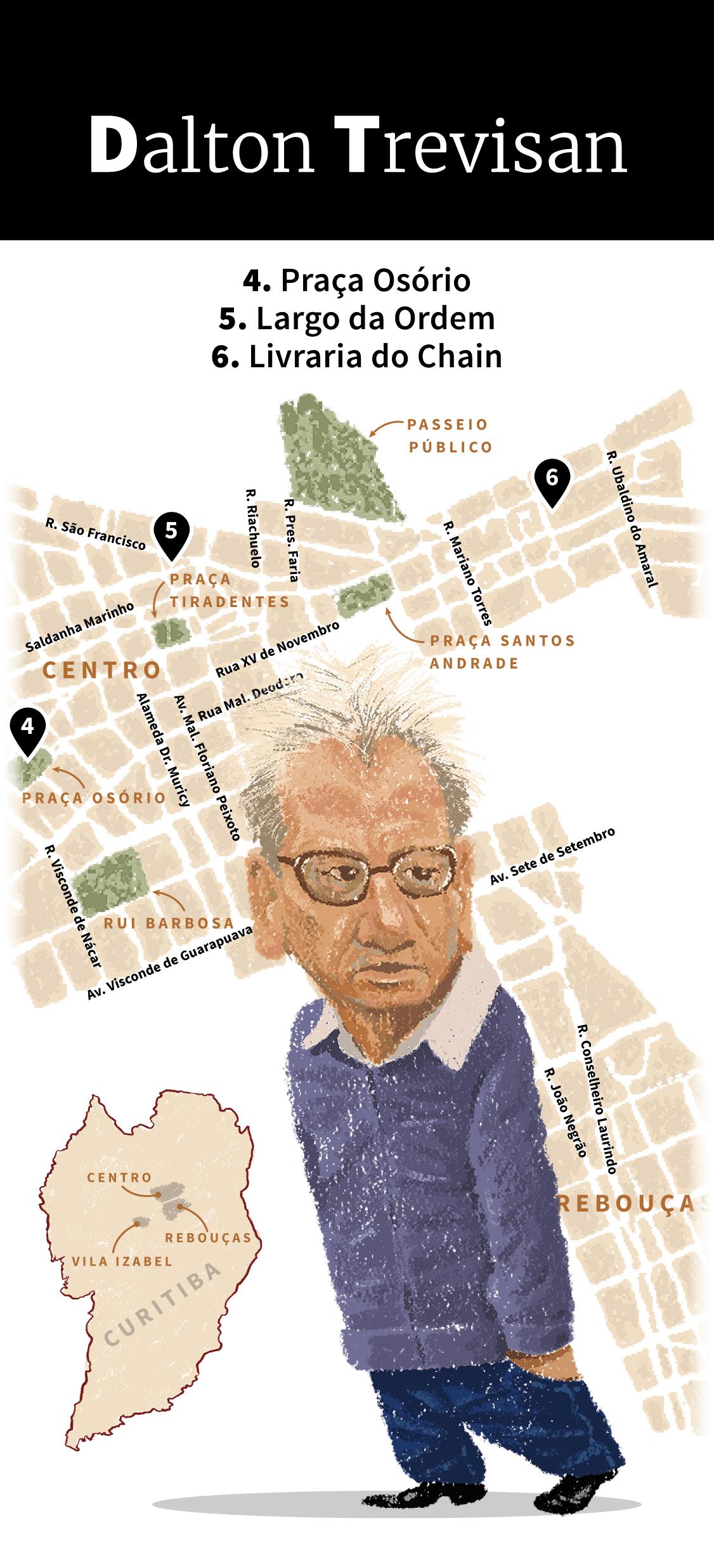 Infográfico: Locais de inspiração de Dalton Trevisan em Curitiba