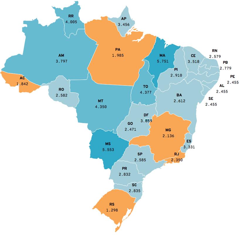Infográfico: Mapa do piso dos professores em 2018