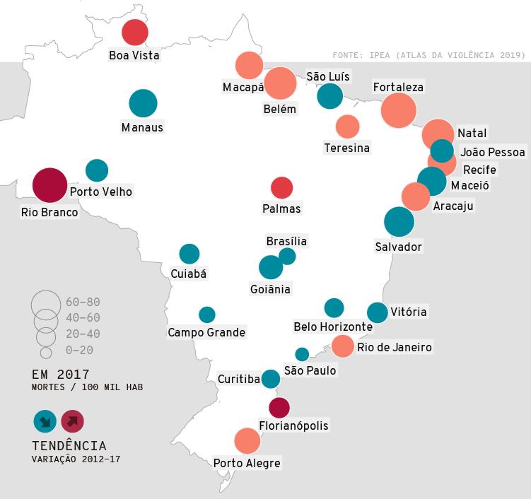 Mapa: Atlas da violência 2019. Taxa de homicídios nas Capitais do Brasil em 2017