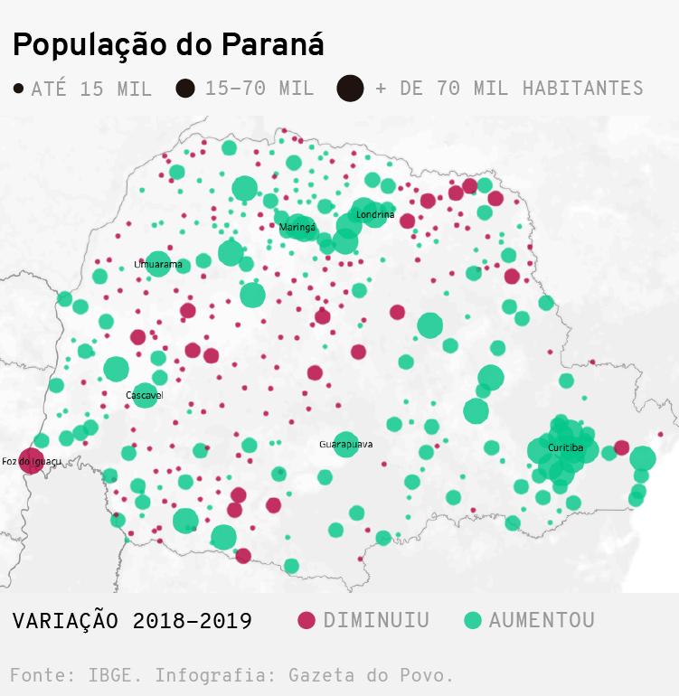 Mapa: População do Paraná em 2019 por municípios