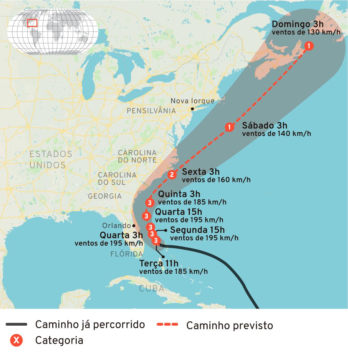 Infográfico: Trajetória prevista para o furacão Dorian em 2019