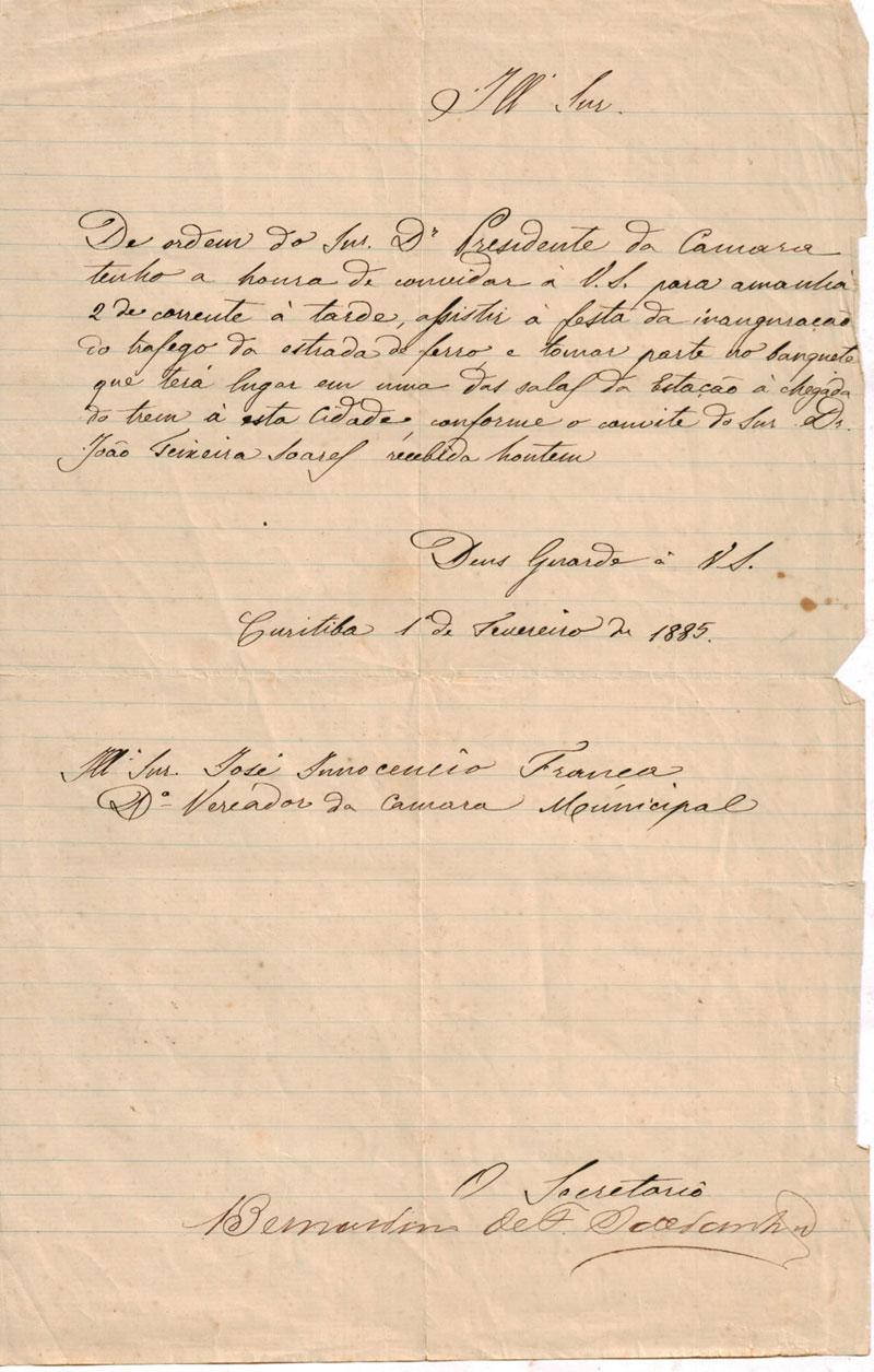 Carta-convite para a inauguração da ferrovia enviada para o vereador José Inocêncio de França. (Coleção particular Ernani Costa Straube)