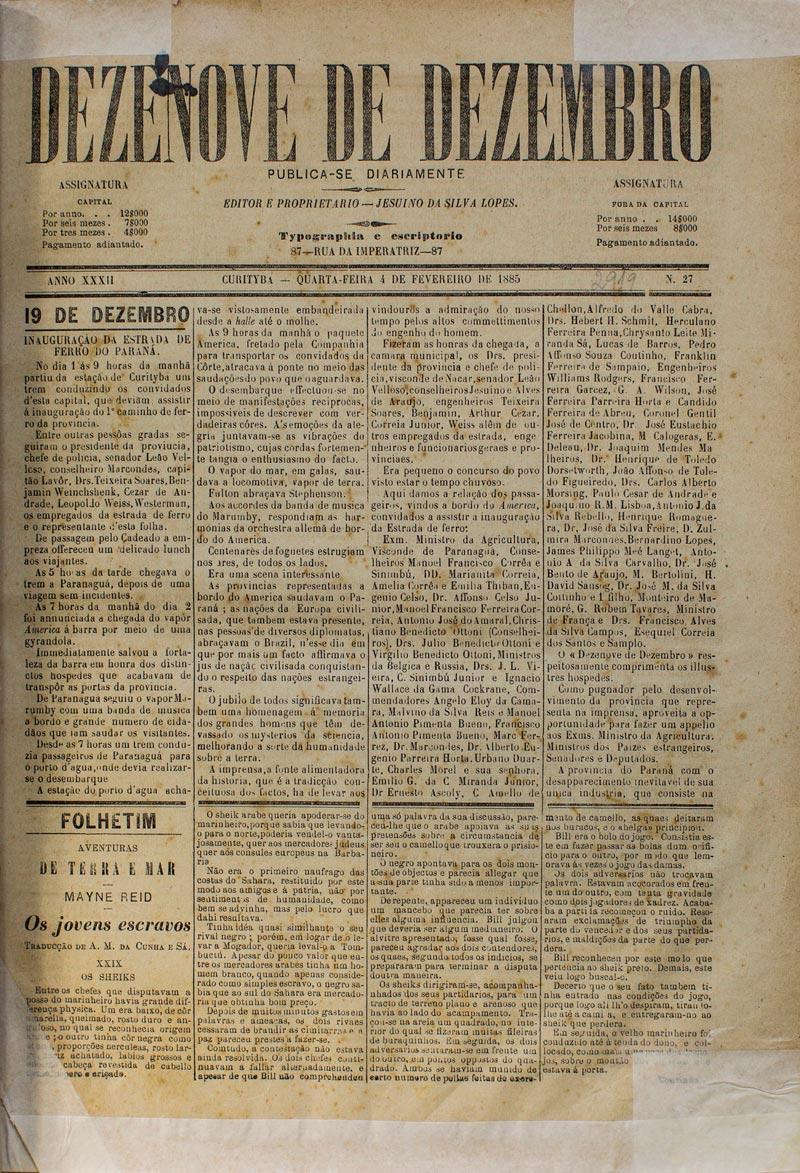 Notícia da viagem inaugural. (Acervo Museu Paranaense, reprodução Bruno Covello/ GP)