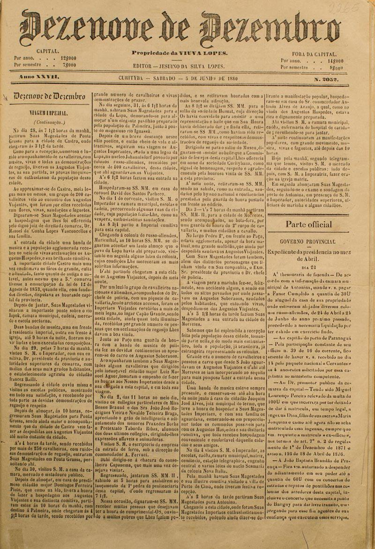 Jornal 19 de Dezembro relatando a viagem do imperador. (Acervo Museu Paranaense, reprodução Brunno Covello/GP)