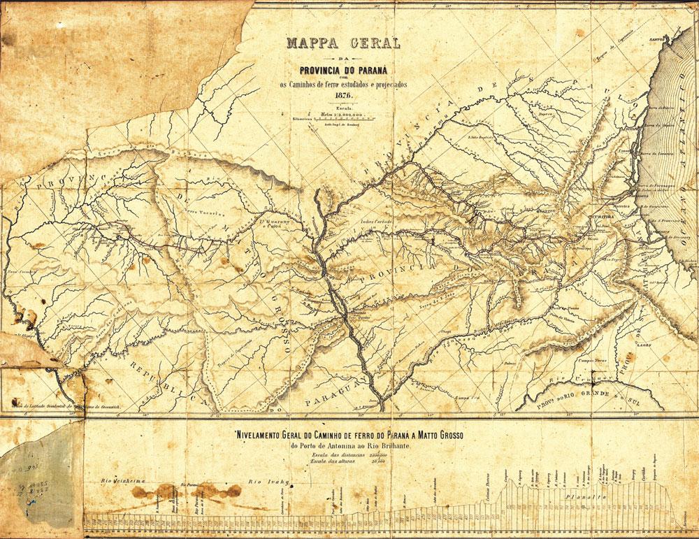 Mapa do Paraná de 1876 (Acervo Instituto de Terras, Cartografias e Geociências)