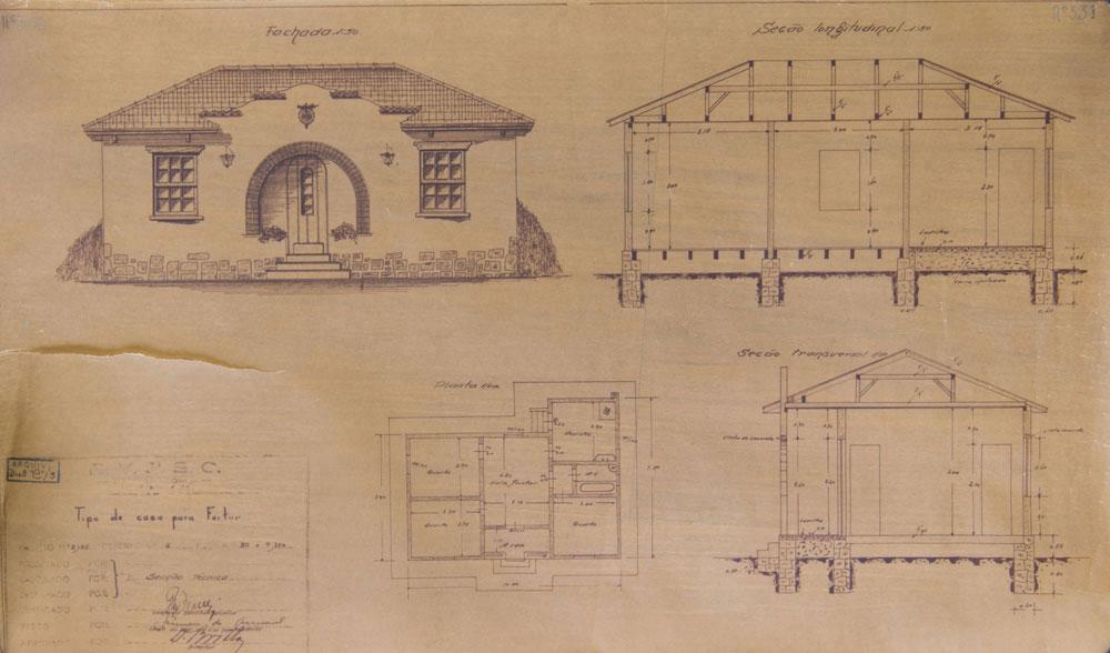 Planta dos anos 1940 de uma casa da RVPSC de seis cômodos. (Foto: Henry Milleo/GP; acervo Inventariança da extinta RFFSA)
