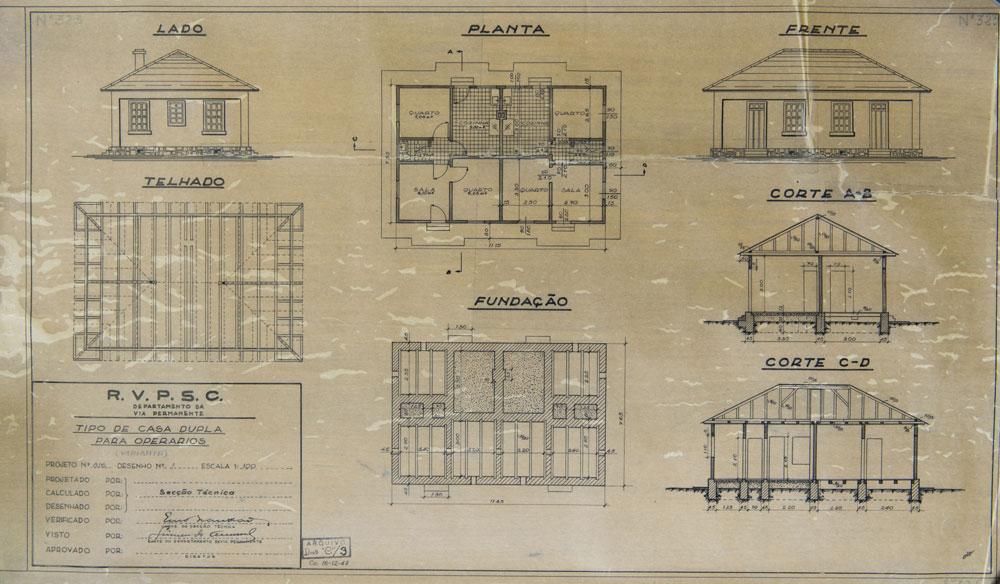 Planta de casa geminada para operários com cinco cômodos cada uma. (Foto: Henry Milleo/GP; acervo Inventariança da extinta RFFSA)