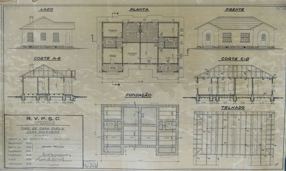 Planta de outra casa geminada para operários, essa apresenta uma pequena varanda. (Foto: Henry Milleo/GP; acervo Inventariança da extinta RFFSA)