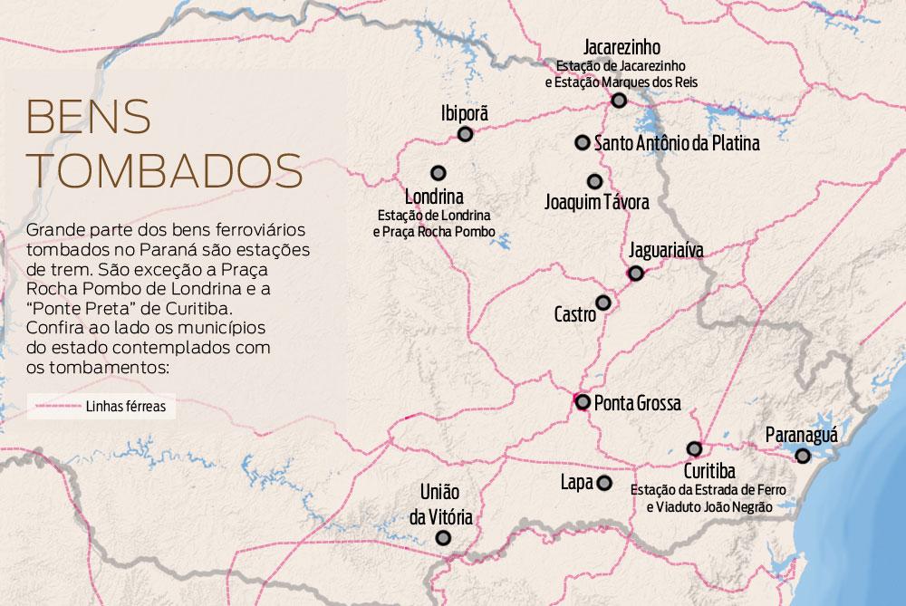 Mapa - Caminhos da estrada de ferro no Paraná